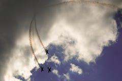 Trois avions dans le ciel Photo stock