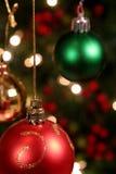Trois babioles de Noël Photos stock