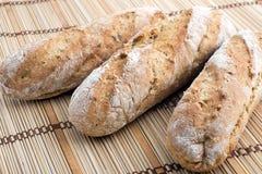 Trois baguettes de pain frais Image stock