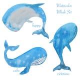 Trois baleines d'aquarelle Images stock