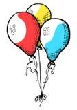Trois ballons sur une ficelle Tiré par la main, d'isolement sur un fond blanc Photos libres de droits