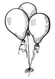 Trois ballons sur une ficelle Tiré par la main, d'isolement sur un fond blanc Illustration de vecteur Image libre de droits