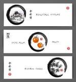 Trois bannières avec des montagnes, prune de date porte des fruits et les arbres en bambou illustration stock