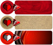 Trois bannières d'amour Images stock