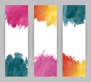 Trois bannières d'aquarelle Image stock