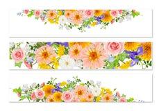 Trois bannières de fleur avec des ombres de baisse illustration libre de droits