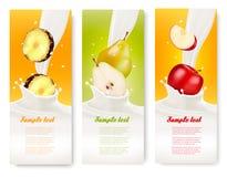 Trois bannières de fruit et de lait Photographie stock