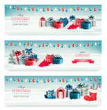 Trois bannières de Noël avec des présents Image stock