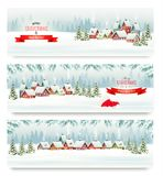 Trois bannières de Noël de vacances avec un village d'hiver illustration de vecteur