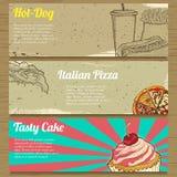 Trois bannières de nourriture pour faire de la publicité Photo libre de droits