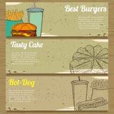 Trois bannières de nourriture pour faire de la publicité Photos stock