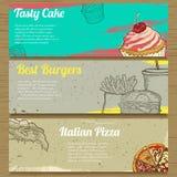Trois bannières de nourriture pour faire de la publicité Vecteur Photo stock
