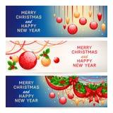 Trois bannières de nouvelle année illustration stock