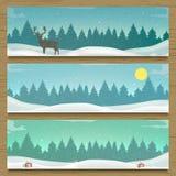 Trois bannières de paysage d'hiver Images stock