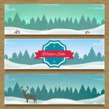 Trois bannières de paysage d'hiver Photo stock