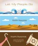 Trois bannières de vacances juives de pâque illustration libre de droits