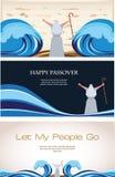 Trois bannières de vacances juives de pâque Photographie stock