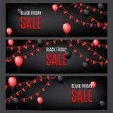 Trois bannières de vente de Black Friday illustration de vecteur