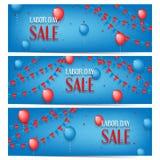 Trois bannières de vente de Fête du travail illustration stock