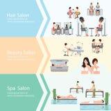 Trois bannières horizontales avec des clients dans le salon de beauté de station thermale Images libres de droits