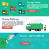 Trois bannières horizontales - service de ville de nettoyage Photo libre de droits