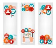 Trois bannières médicales avec les icônes colorées Photographie stock