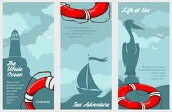 Trois bannières nautiques Images stock