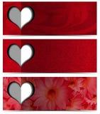 Trois bannières romantiques Photos libres de droits