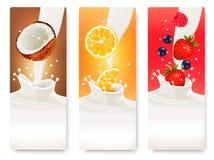 Trois bannières de fruit et de lait Images libres de droits