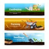 Trois bannières horizontales de jardinage Photographie stock