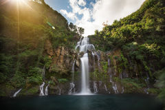 Trois Bassin; one of the waterfalls in between the mountains of Reunion Island Royalty Free Stock Images