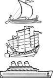 Trois bateaux nautiques Images libres de droits