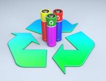 Trois batteries colorées se tenant au milieu d'un symbole de réutilisation photos stock