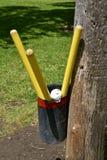 Trois battes et boules de whiffle Images stock
