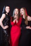 Trois beaux chanteurs féminins Image libre de droits