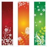 Trois beaux drapeaux floraux Illustration de Vecteur