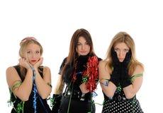 Trois belles amies de femme sur la réception Images stock