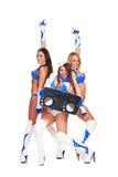Trois belles filles avec le contrôleur du DJ Photos stock