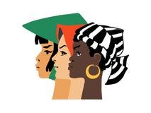 Trois belles filles de différentes nationalités recueillies le jour des femmes illustration libre de droits