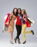 Trois belles jeunes femmes retenant des sacs à provisions Images libres de droits