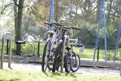 Trois bicyclettes pour toute la famille photographie stock libre de droits
