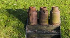 Trois bidons à lait dans Giethoorn Photo libre de droits