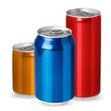 Trois bidons en aluminium photo stock