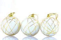 Trois billes d'arbre de Noël Image libre de droits
