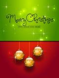 Trois billes d'or de Noël Photographie stock libre de droits