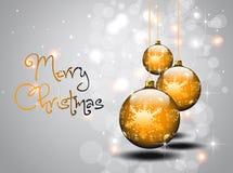 Trois billes d'or de Noël Image libre de droits