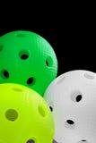 Trois billes de floorball d'isolement Image libre de droits
