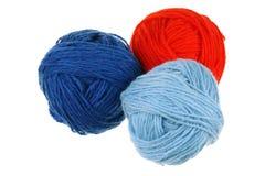 Trois billes de laine Photos stock