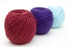 Trois billes de laines Photographie stock libre de droits