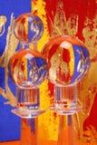 Trois billes en cristal colorées   Image libre de droits